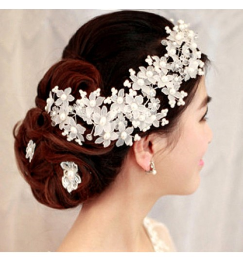 Bridal Flower Handmade Crystal Pearl women hair hoop Wedding Hair Accessories