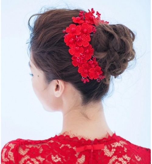 handmade lace red flower pearl short bridal headdress wedding hair accessories