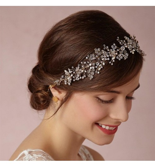 European exquisite handmade gold and silver crystal bridal hair accessories