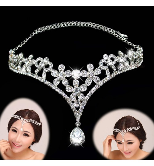 bridal forehead pendant diamond wedding tiara jewelry veil accessories
