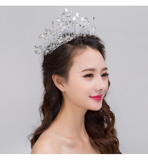 Bridal headdress exquisite handmade crystal diamond soft crown wedding hair accessory