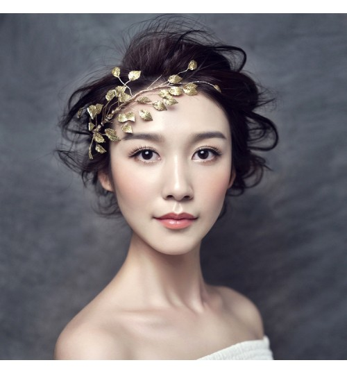 Bridal headgear handmade golden Branches and leaves hair bridal dress accessories