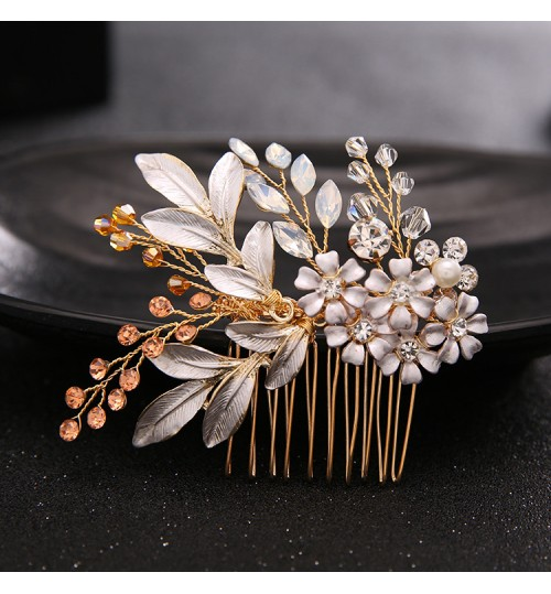 new European style comb bridal diamond beads tiara wedding jewelry accessories