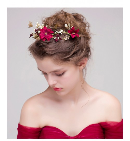 bridal headdress red flowers wedding hair accessories toast clothing dress accessories