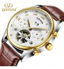 New authentic men's stainless steel automatic hollow tourbillon fashion mechanical watches