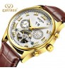 Authentic men's waterproof Genuine leather band hollow Tourbillon mechanical watches