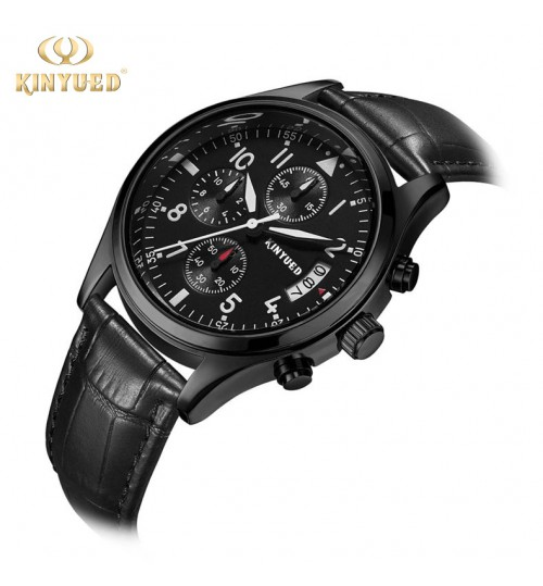 High-quality Genuine leather band black alloy case multi-function men's quartz military watch