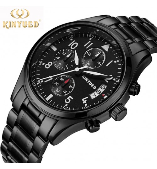 Genuine Fashion Black Men's Watch High quality zinc alloy case stainless steel band Hardened glass mirror