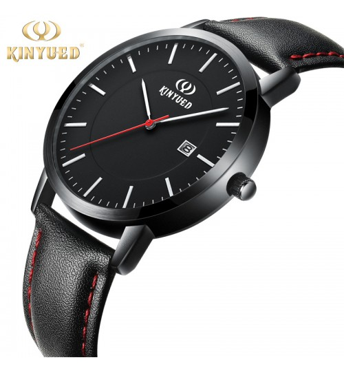 Genuine leather fashion student men and women black quartz watch precision time