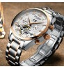 Genuine Rose Gold Steel band Automatic Men's Watch Mineral toughened glass