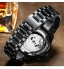 Genuine waterproof full black tourbillon automatic mechanical watch for men