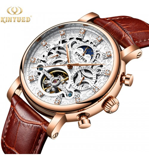 new authentic automatic fashion stainless steel men's watch hollow mechanical watch precision time