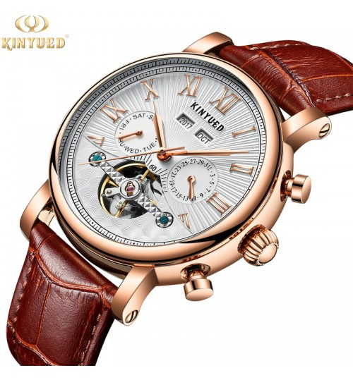 Genuine new automatic hollow men's mechanical watch leather band zinc alloy case