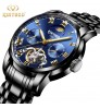 new authentic men's fashional exquisite stainless steel tourbillon automatic mechanical watch waterproof