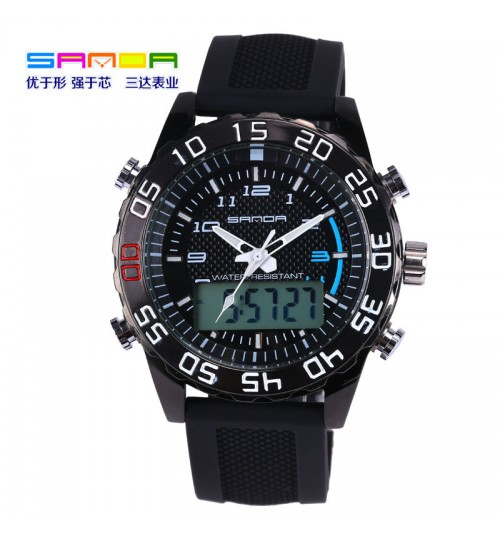 men's sports waterproof watch personalized fashion trendy brand wristwatch hands number double display luminous