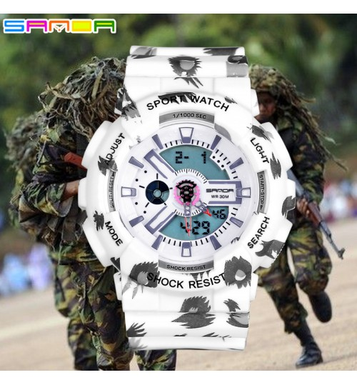 New Leopard cool dual display cold light electronic watch waterproof shockproof sports wristwatch for female students