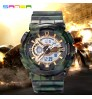 Camouflage Multi-functional Dual Display Cold Light Electronic Watch Outdoor Sports Waterproof Military Shockproof LED Watch