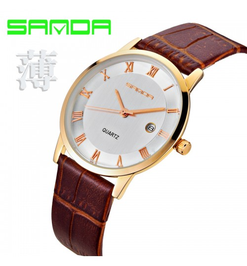 Korean style fashion ultra-thin waterproof quartz watch for couple student leather strap