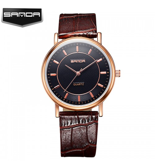 Fashion leather strap quartz couple watch waterproof man woman students wristwatch