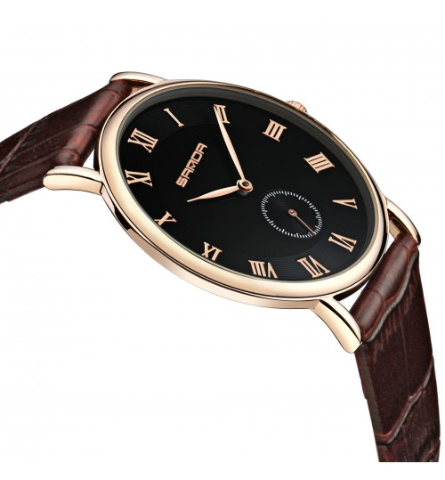 Personalized men's quartz watch waterproof luminous leather strap Greek numerals wristwatch