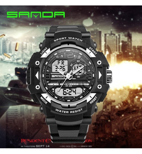 New multi-functional plastic double display luminous electronic watch waterproof outdoor sports wristwatch