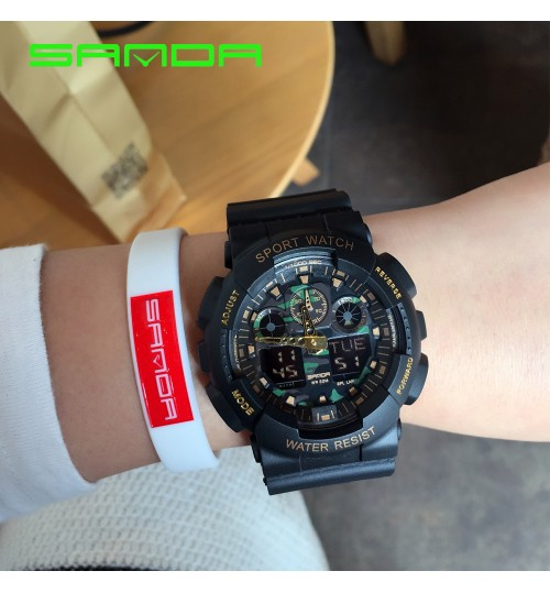 Military Camo Climbing Double display Electronic watch Waterproof Outdoor sports Men's wristwatch