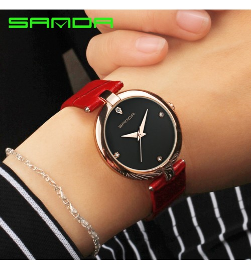 Commuter leather band watch women fashion waterproof creative quartz watch
