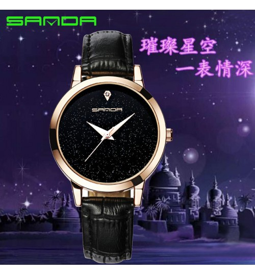 waterproof stars commuter OL women watch fashion leather band simple wristwatch for girls