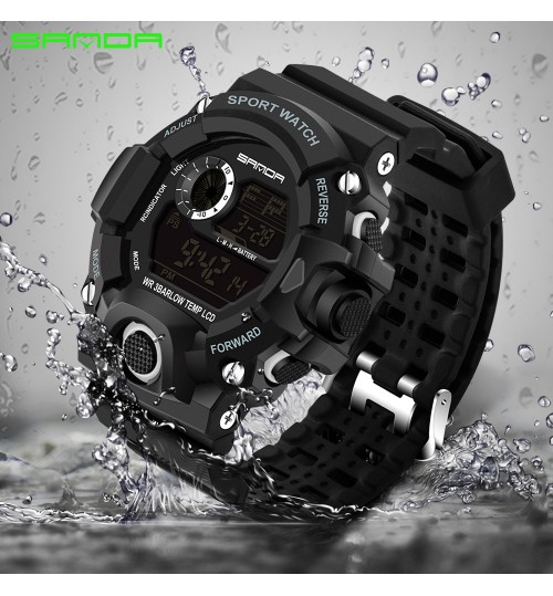 Fashion multi-functional electronic watches waterproof men women's wristwatch