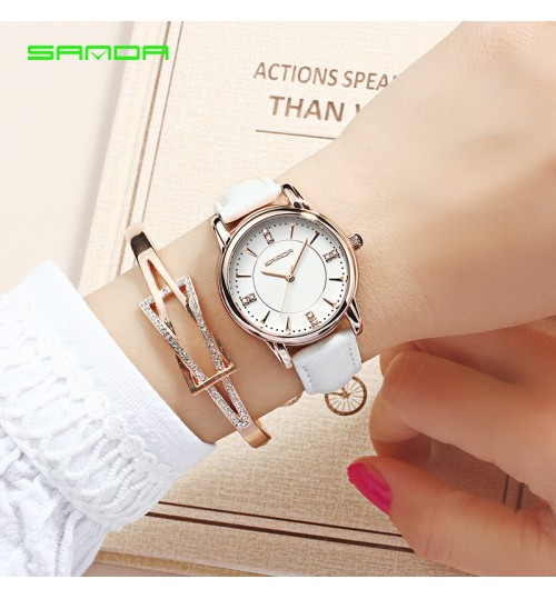 Female student fashion leather strap wrist watch six colors optional 9mm thin dial