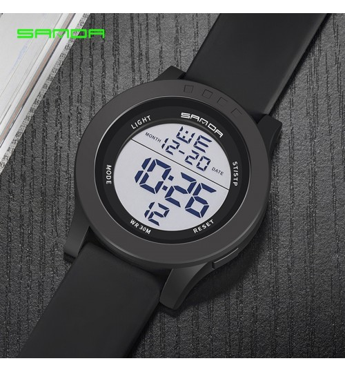 Men's electronic watch waterproof big dial students sports multi-function wristwatch