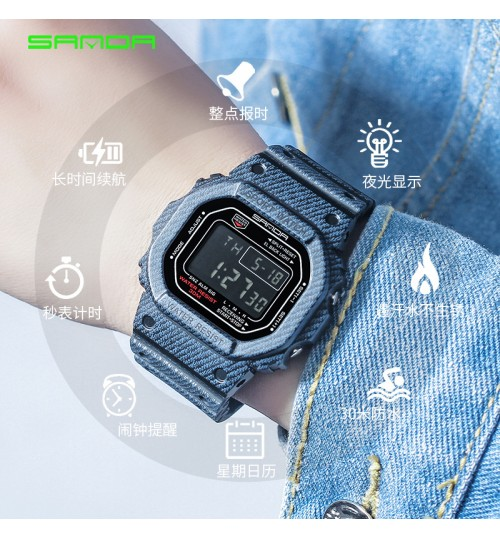 men women students electronic watch new denim pattern sports waterproof couple watches