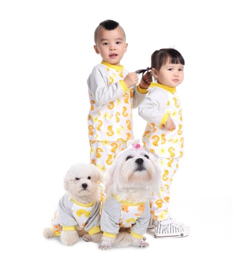 Pet Family Pack Cotton Pajamas Dog Clothes Parenting Pet Clothing Small Yellow Duck Pet Clothes Family fitted