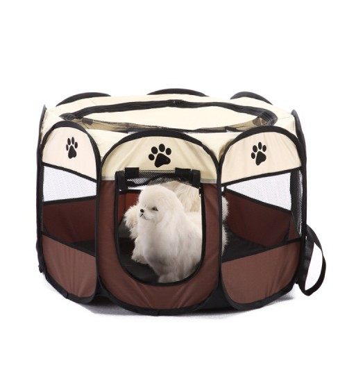 Foldable small pets net barrier household dog cat octagonal tent Oxford cloth cage