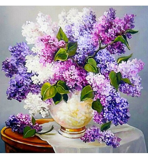 Diamond painting full stickers cross-stitch DIY lilac vase Square diamond bedroom decoration