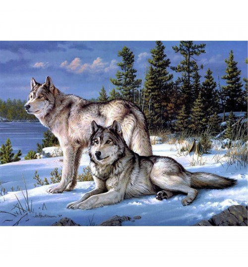 New animal diamond painting cross-stitch textile printing suits DIY snow wolf embroidery can be customized