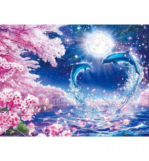 Diamond painting DIY moon peach dolphin pattern resin diamond handmade works