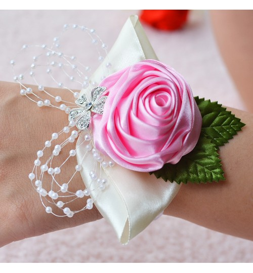 D480 Wedding Supplies Gift Box Decoration Artificial Flower European and American beads Wrist Flower Corsage Brooch