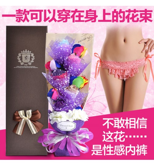 D490 soap flower simulation rose panties bouquet lover birthday gift creative gift for girl