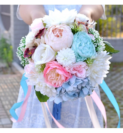 D476 Blossoms Hydrangea Hand Bouquet Artificial Embroidery Rose Decoration Flowers