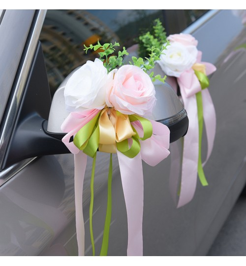 D624 Wedding Car decoration Supplies Eucalyptus Rose Artificial Flower for car rearview mirror and body