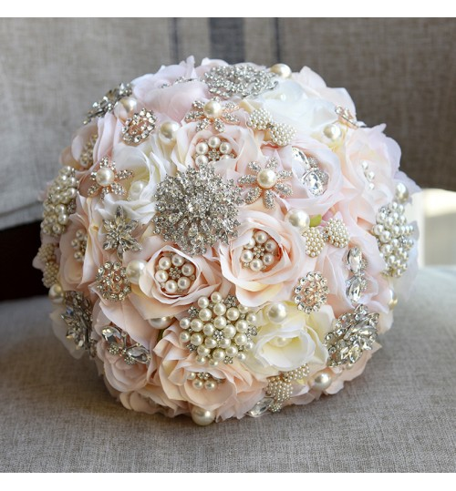 D632 bride holding cloth flowers champagne rose beads Korean European and American wedding hand bouquets