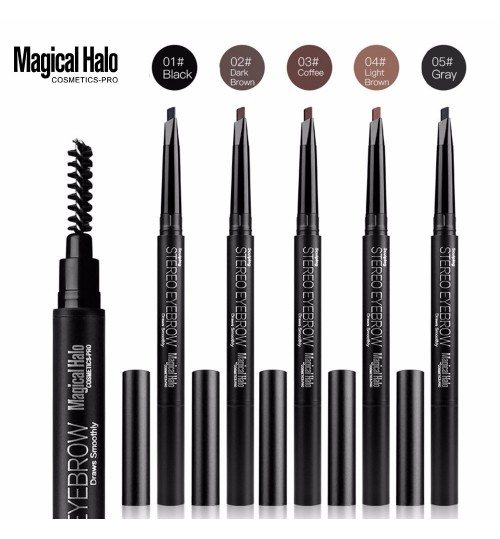Magical Halo new MH extrusion refill five-color double head with brush automatically rotate eyebrow pencil triangle eyebrow pencil