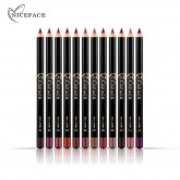 NICEFACE nude color make-up 12 color waterproof lip liner Makeup Slim Lip Pencil