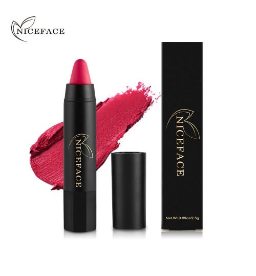 NICEFACE 24 colors matte lipstick pen Matte silky smooth Rotating makeup red series color