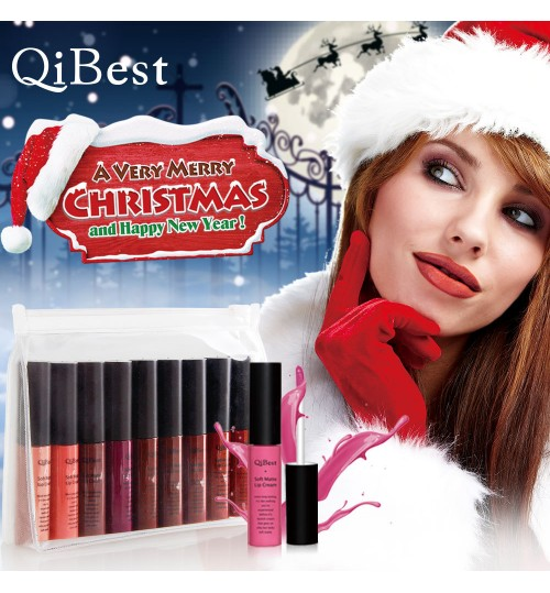 Christmas limited lip gloss set 9 color non-stick cup matte liquid lipstick makeup does not fade