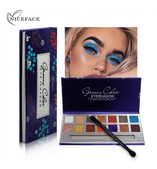 Cross-border exclusive NICEFACE 14 color eyeshadow pearlescent matte eyeshadow sunset disk marble waterproof glitter