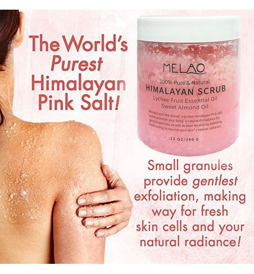 Himalayan Salt Body Scrub Deep Cleansing Exfoliating natural lychee fruit essential almond oil source wholesale