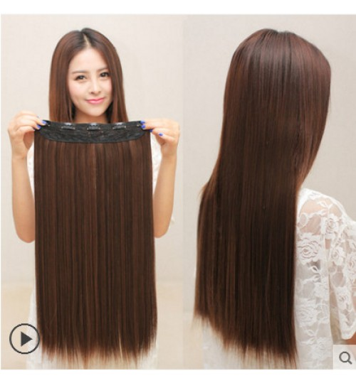 Five clip long straight hair extension hairpiece 60cm long girl wig accessories