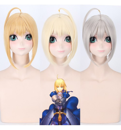 Fate stay night Saber mixed gold beige gray wig with colorful silk ribbon